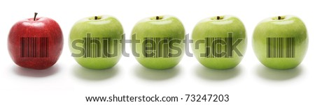 A Row of Apples on Isolated White Background