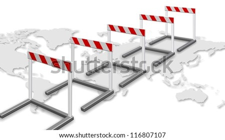 A row of barriers and map of world on the white background / Path to success