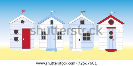 A row of beach huts against blue sky and sand. Also available in vector format.