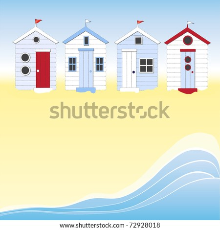 A row of beach huts against blue sky and sand and sea. Space for your text. Also available in vector format.