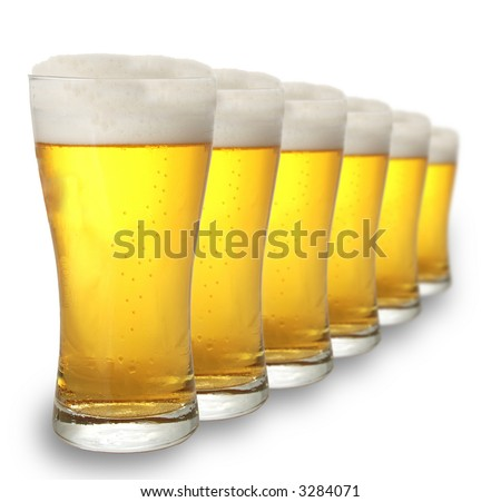 A row of beer pints