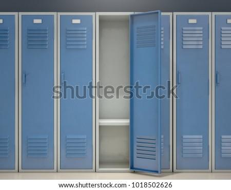 A row of blue metal school lockers with one open door revealing that it is empty - 3D render