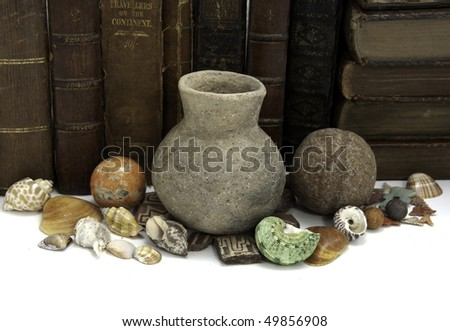 A row of books with a grouping of ancient and natural artifacts
