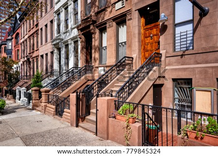 a row of brownstone buildings on a sunny summer day in Brooklyn, New York City.