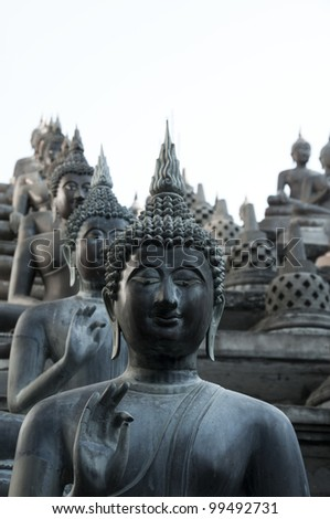 a row of Buddhist statues in a Sri Lanka temple