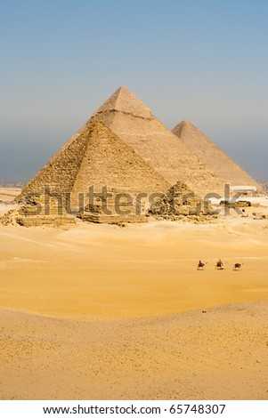 A row of camels transport tourists in front of all of the Giza Pyramids in Cairo, Egypt