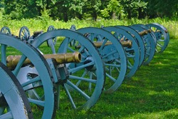A row of cannons at Valley Forge in Pennsylvania.