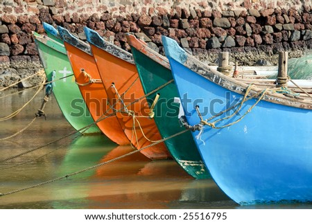 A row of colorful boats