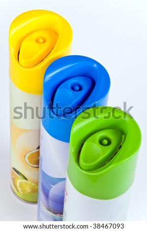 A row of colour cylinders freshener air