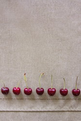 A row of fresh beautiful cherries as a boarder; A line of juicy cherry berries on a table cloth