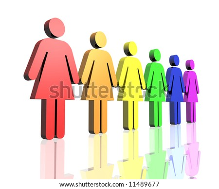 stock photo : a row of gay flag colored woman sign
