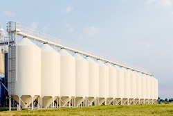 A row of granaries for storing wheat and other cereal grains.