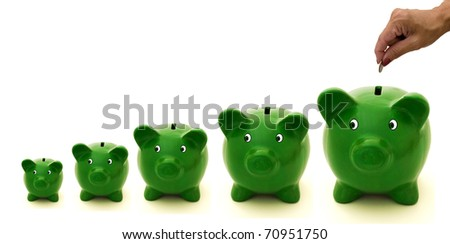 A row of green piggy bank with a white background, Investing
