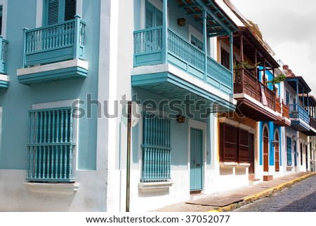 A row of homes in Old San Juan, Puerto Rico