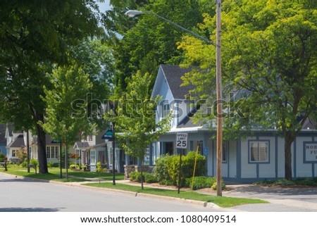 A row of houses on a suburban street in the village of Bellaire in Michigan, United States. #1080409514