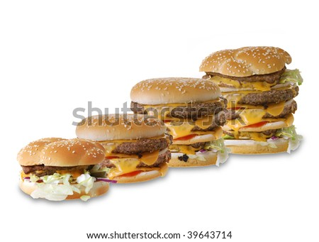 A row of huge cheeseburgers isolated on white background