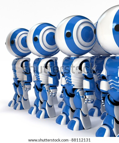 A row of human robots posed and ready to work in place of human beings.