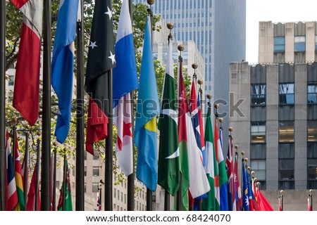 A row of international flags from all over the world in the city of New York.