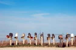 A row of mailboxes in rural Warren County, Iowa.