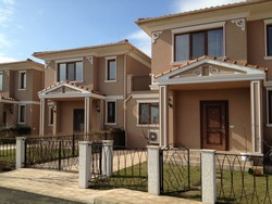 A row of modern townhouses