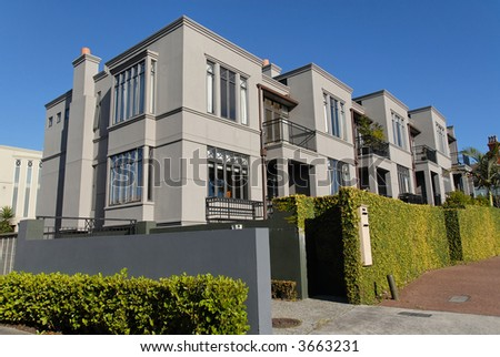 A row of modern townhouses, Parnell, Auckland, New Zealand - stock photo