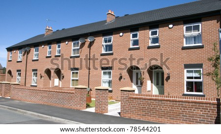 A row of newly build homes in the UK