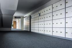 A row of school lockers.