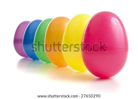 a row of vibrant coloured plastic easter eggs
