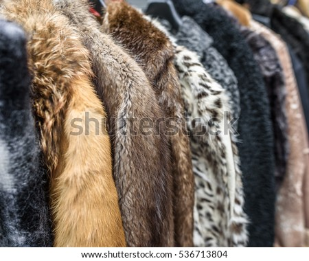 A row of vintage coats made of animal fur