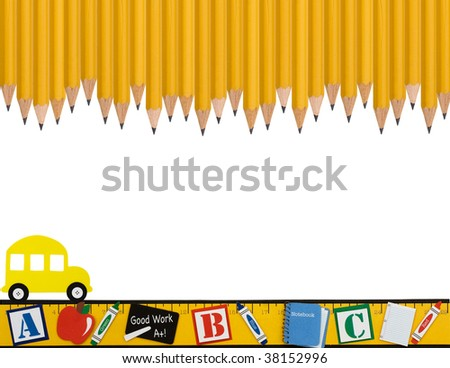 A row of wooden pencils with a ruler and school bus isolated on a white background, School days