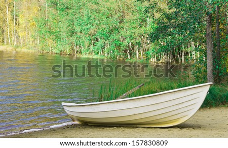 a rowing boat on the lake