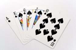 A royal flush isolated against a white background.