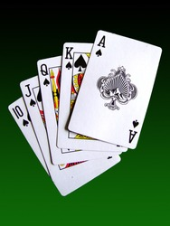 a royal flush poker hand set against a green gradient background