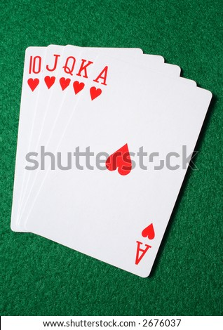 A Royal Flush, the highest ranked hand in Texas Hold'em.