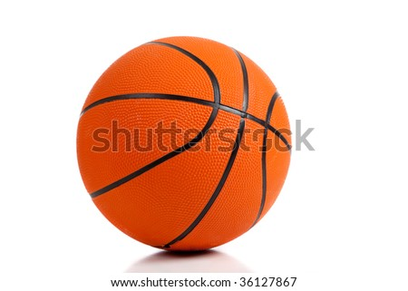A rubber basketball on white background with copy space