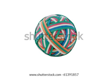 a rubberband ball isolated on white