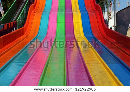 A rug slide ride at the county fair.
