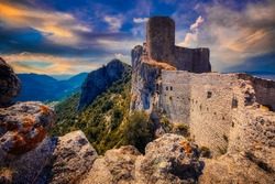 A ruined medieval castle in Languedoc Roussillon, France, one of the famous Cathar Castles close to the Spanish border