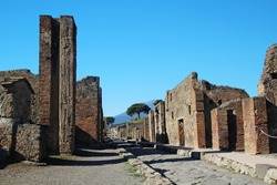 A ruined street in Pompeii, Italy