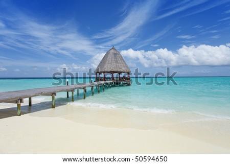 A runway at the beach of a maldivian island