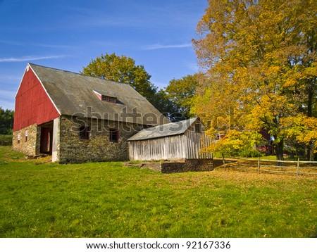 A rural Autumn farm scene in Bucks County, Pennsylvania. - stock photo