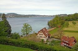 A rural landscape shot on the bank of Lake Lucerne in Switzerland
