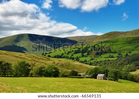 A rural view of the Southern Howgill Fells in the Yorkshire Dales National Park, England