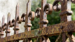 A rusted, decorated, wrought iron fence. Detail of an old retro iron fence made with decorated ironwork elements. Old and worn, still showing some of its former splendor
