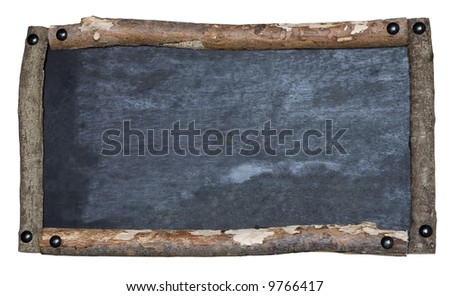 A rustic blank blackboard isolated on white - stock photo