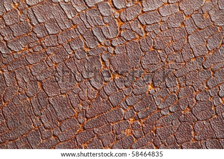 A rustic grungy cracking old leather surface for textural background