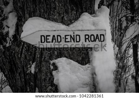 A rustic wooden dead end road sign attached to a tree in the winter. The photo is in black and white of the old-fashioned sign that is attached to a large tree, pointing to a rural road. Weird message