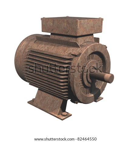 A rusty electric motor on white background (everything has stopped working)