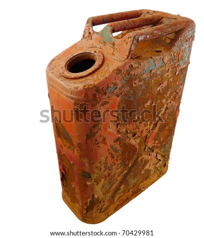 a rusty old metal gas can with peeling red paint isolated on pure white with a clipping path.