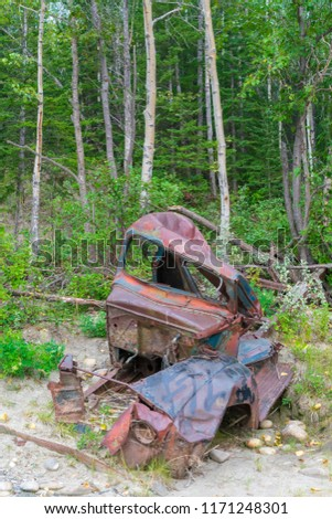 A Rusty Old Truck Along The Alaska HIghway, Canada